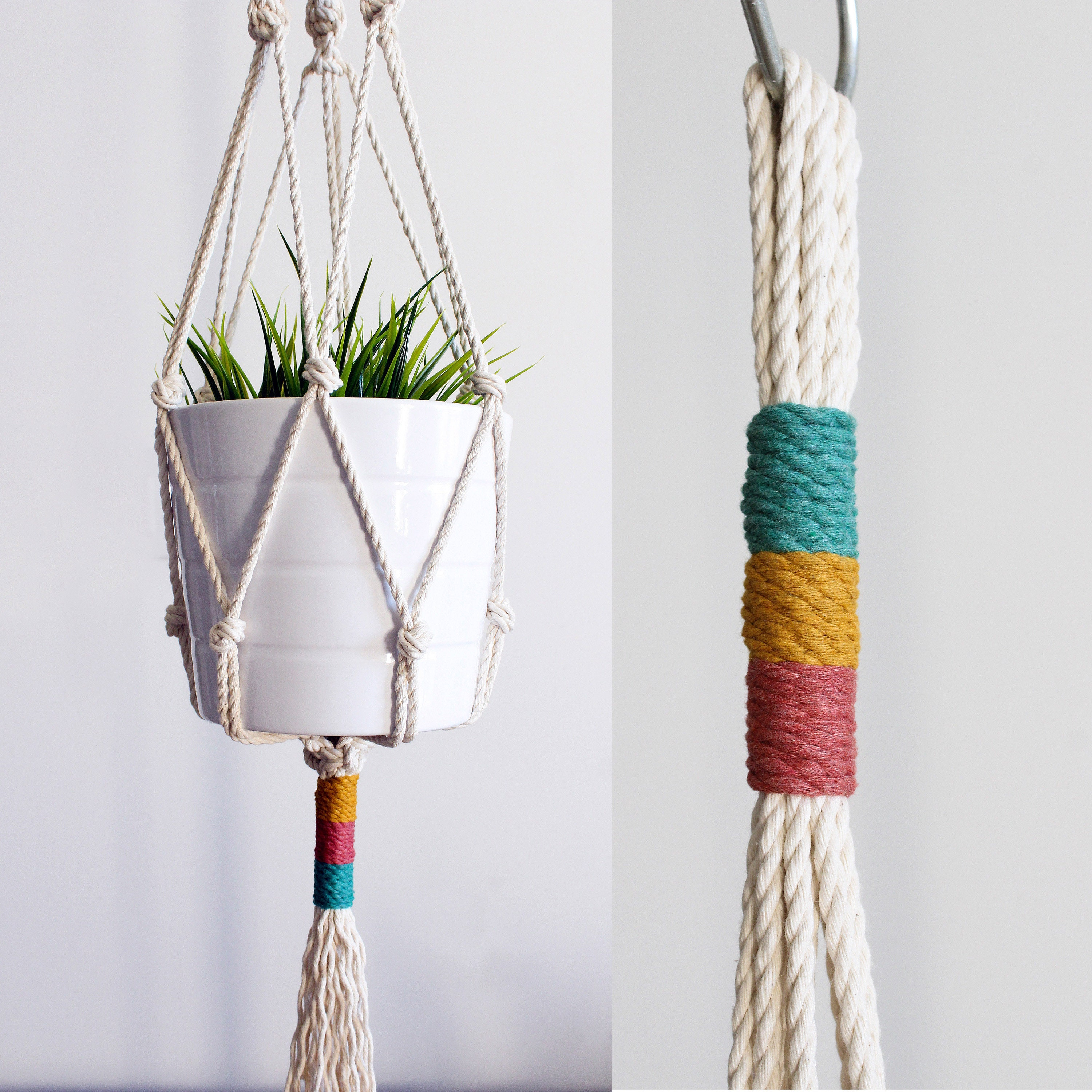 Macrame Plant Hanger, Hanging Planter, Color Block, Birthday Gift, Mother's  Day Gift