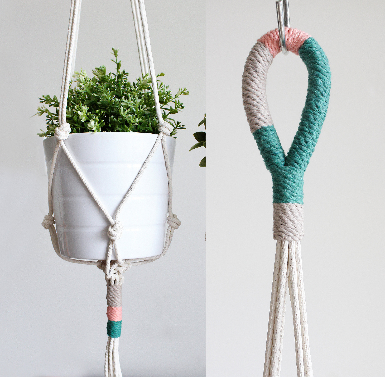 Macrame Plant Hanger Hanging Planter Color Block   Etsy