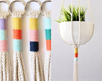 Macrame Plant Hanger, Hanging Planter, Color Block, Birthday Gift