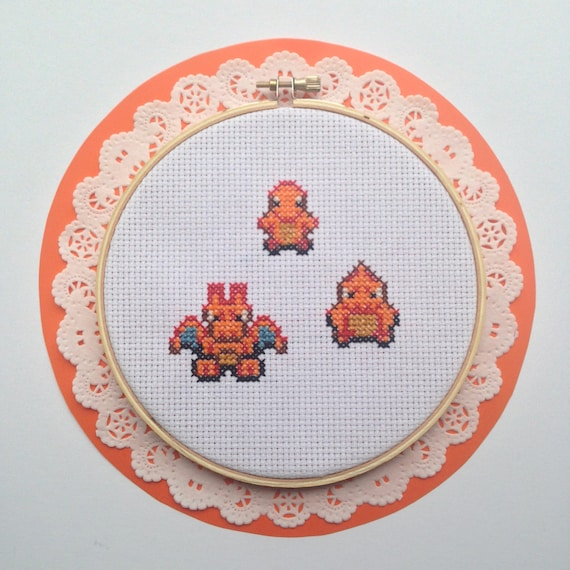 Pokemon Cross Stitch Pattern Charmander Charmelion Charizard Embroidery Needlepoint Buy 2 Patterns Get A 3rd Free