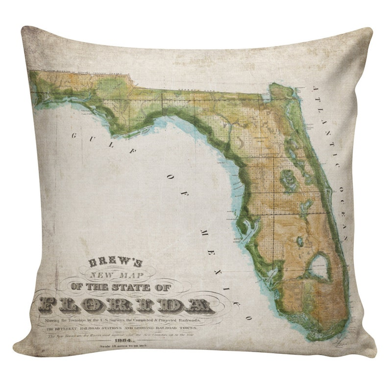 Show Me A Map Of The State Of Florida.Cushion Cover Throw Pillow Map Pillow Map Of Florida State Pillow Burlap Pillow Cotton Front With Cotton Or Burlap Back Wb0297