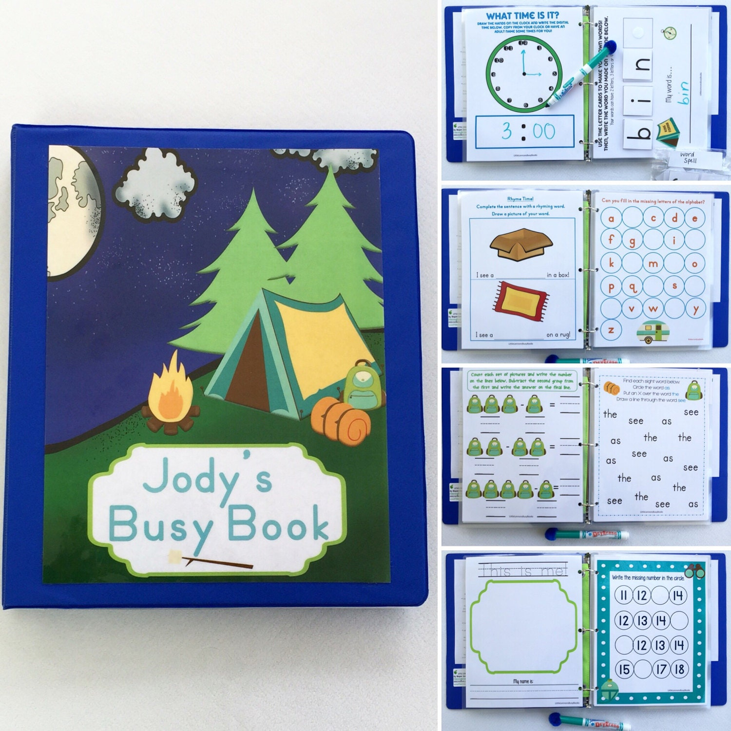 Camping Personalized Busy Book Quiet Book Dry Erase/ | Etsy