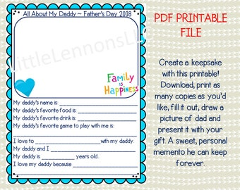 Fathers Day Printable, PDF, Digital Download, kids printable, father's day, kids gift for fathers day, dads day, gift for father, from kids