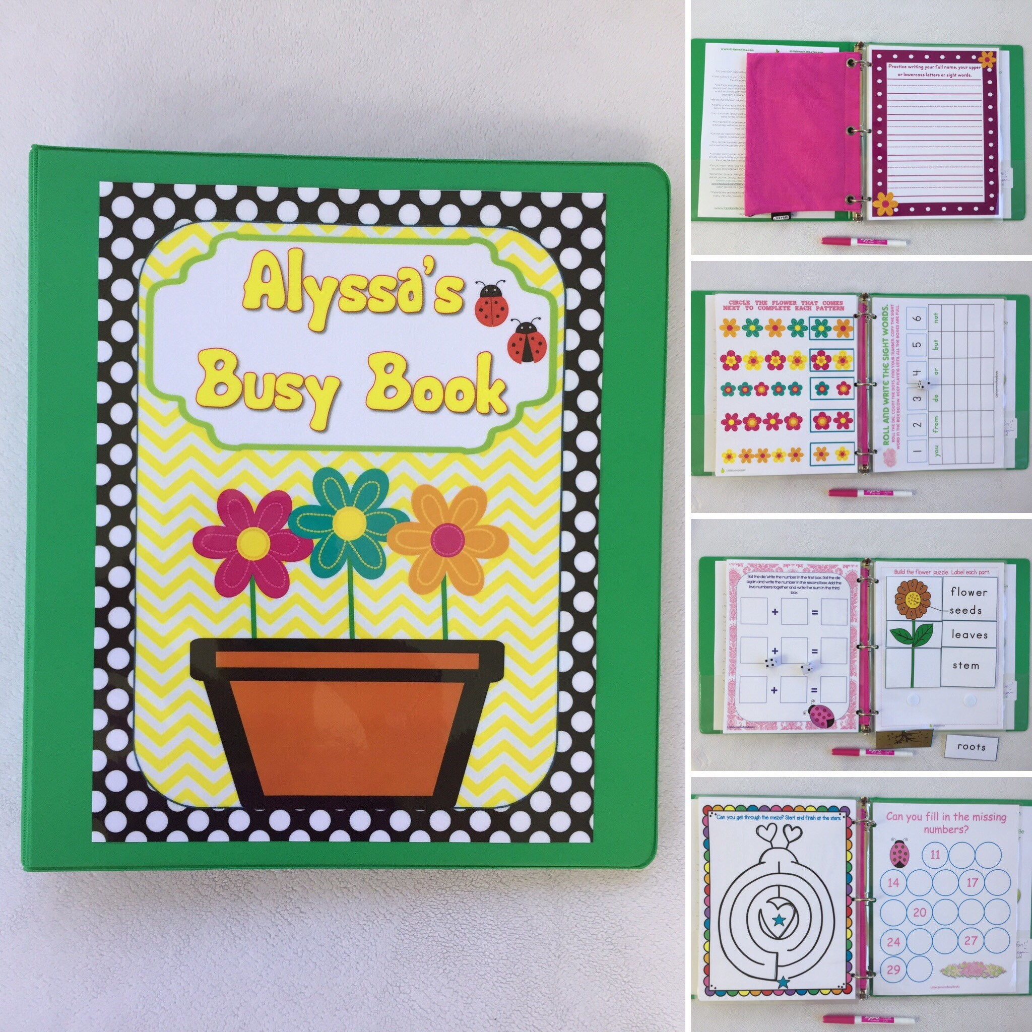 Ladybugs, flowers Personalized Busy Book, Quiet Book, Dry Erase, activity  book, Preschool, Learning, Educational Toy, travel games, hands on
