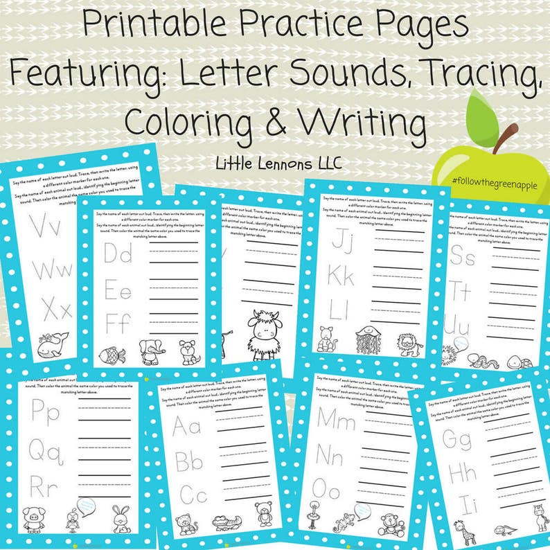 Printable alphabet tracing, writing, coloring pages, beginning sounds,  learn to write, letters, preschool, diy, homeschool, worksheets, car