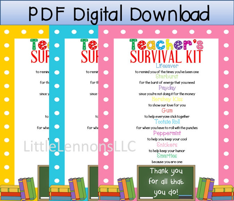 photo about Teacher Survival Kit Printable named Electronic Down load Lecturers Survival Package Printable, trainer, instructor appreciation, present, kid towards instructor, Do it yourself reward, sweet printable, pdf