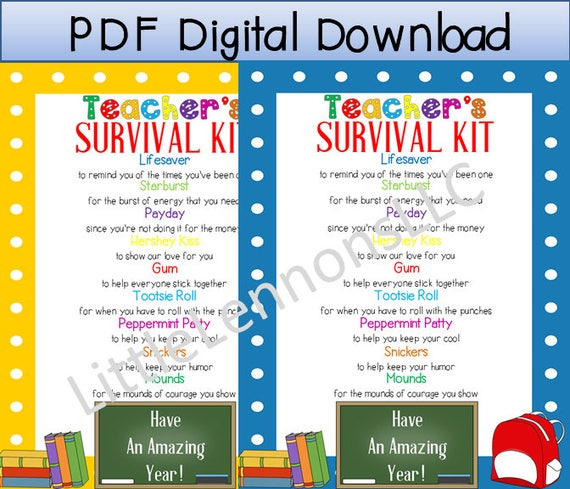 graphic about Teacher Survival Kit Printable known as Electronic Obtain Academics Survival Package Printable, instructor reward, to start with working day of college or university, reward in opposition to youngster towards instructor, Do it yourself present, sweet printable