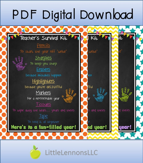 picture regarding Teacher Survival Kit Printable referred to as Electronic Down load Lecturers Survival Package Printable, instructor reward, to start with working day of higher education, present in direction of trainer, Do it yourself present, Present printable, components