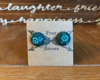 Jade flower fabric stud earrings