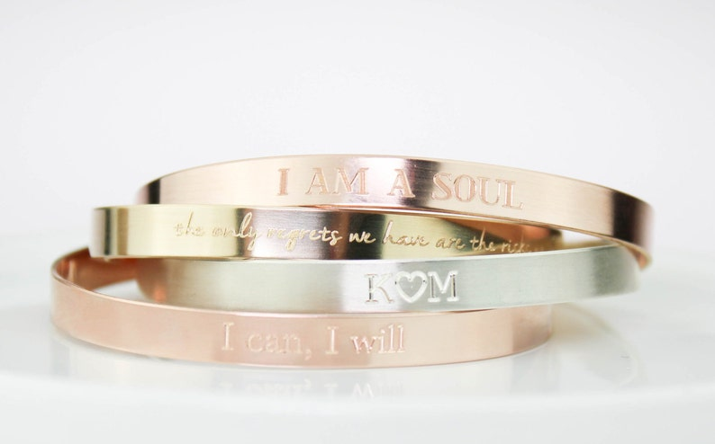 34eaa92d9ae Bracelet Cuff Personalized Engraved Bracelet Rose and Gold   Etsy