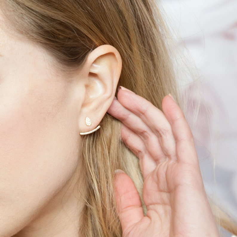 Ear Jacket Rose Gold Ear Jackets Ear Climbers Ear Jackets image 0