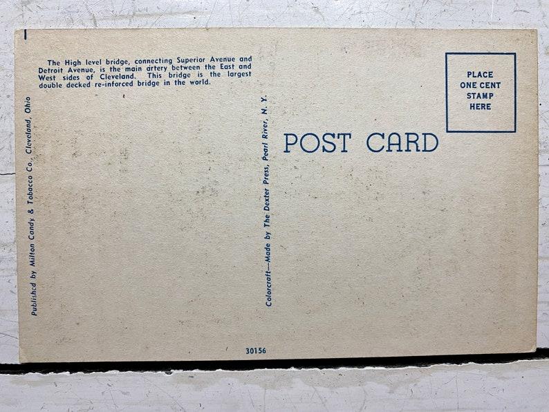 Unused Ohio Postcard High Level Bridge Looking East Vintage Linen Cleveland