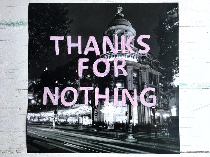 Thanks For Nothing Photo Print Paris Black White Pink Original