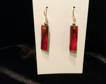 Swarovski Crystal Earrings- red magma crystal- dangle- rectangular- sparkle - elegant - sophisticated -holiday gift-