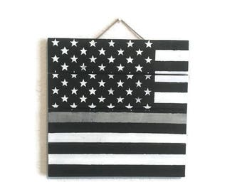 Thin Silver Line Wood Pallet Sign, Corrections Officer, Correctional Officer, American Flag Home Decor, Police Officer Gift, 10 x 10
