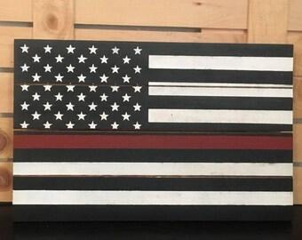 Fireman Decor, Gift For Firefighter, Thin Red Line Flag, Firefighter Family Wood Pallet Sign, Firefighter Gift, Firefighter Birthday