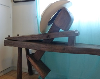 Primitive Wooden Oak Bench Antique Shaving Horse Schnitzelbank Woodworkers Tool. Museum Quality 17th 18th 19th century coopers carving clamp