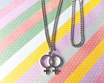 Sapphic Double Venus Necklace / Lesbian / Bisexual / Pansexual / LGBT / Pride Necklace / Pride Month /LGBTQ Pride