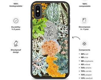 Biodegradable iPhone Case - Lichens of the Pacific Northwest - Compostable - Made of Dirt and Vegetables!