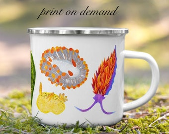Sea Slugs Camping Mug - PRINT ON DEMAND Item - Enamel Mug - 12 oz - Nudibranch Rainbow Mug