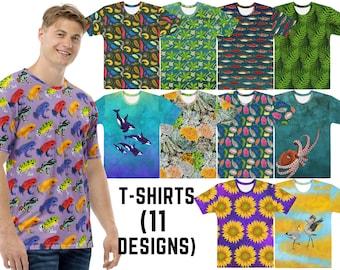 T-Shirts, 11 Designs (Femme & Masc) - Nudibranchs, Orcas, Slugs, Octopus, Ferns, Lichen, Salmon, Mangroves, Frogs, Cranes, Sunflowers
