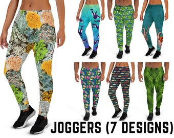 Joggers/Sweatpants, 7 Designs (Femme & Masc Styles) - Nudibranchs, Orcas, Octopus, Ferns, Lichen, Salmon, Mangroves