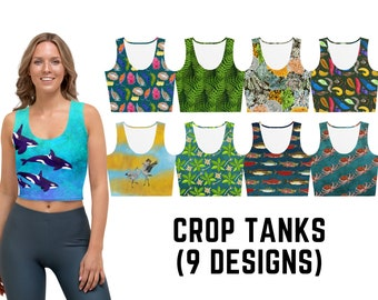 Crop Tank, 9 Designs - Nudibranchs, Orcas, Slugs, Octopus, Ferns, Lichen, Salmon, Mangroves, Sandhill Cranes