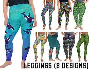 Leggings, 8 Designs (2 Femme Styles) - Nudibranchs, Orcas, Slugs, Octopus, Ferns, Lichen, Salmon, Mangroves