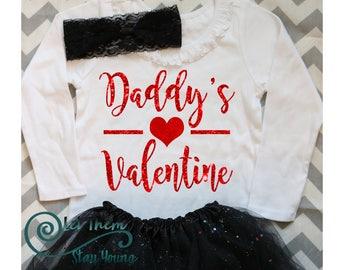 Daddys Valentine shirt First Valentines day Daddys little princess Daddys little girl Valentines day shirt girls