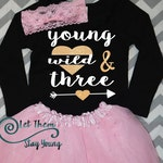 Young Wild and Three shirt, 3 Years Old Wild Child Third Birthday Shirt 3rd Birthday Shirt 3rd Birthday Party third birthday outfit