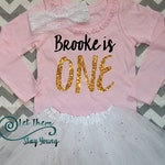 Customized First Birthday long sleeve Birthday shirt  Baby Girl Shirt Baby Girl Custom 1st Birthday Shirt Gold Pink Glitter First Birth Day