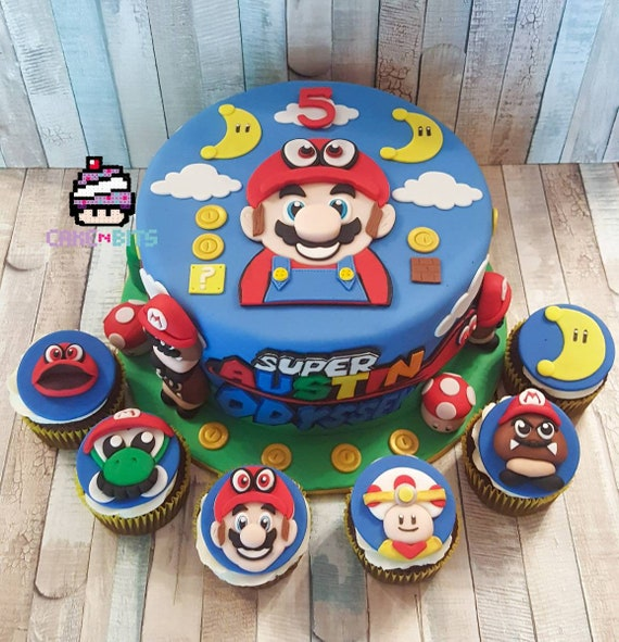 Inspired By The Super Mario Odyssey Game Birthday Cake Topper Etsy