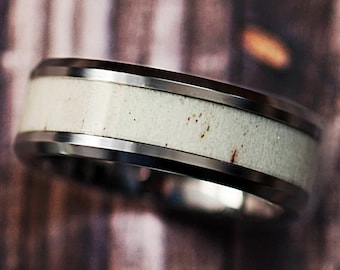 Deer Antler Inlay Tungsten Carbide Ring Light Polished Beveled Edge - 8mm Available - Lifetime Size Exchanges