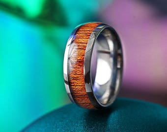 Custom Personalized Engraved Domed Mahogany Wood Inlay Tungsten Carbide Ring - 8mm Available - Lifetime Size Exchanges