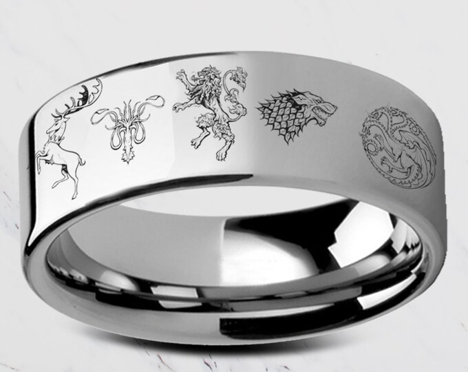 Custom Engraved Game of Thrones Sigil Ring Symbol Sigil Band Tungsten Ring Flat Polished - 4mm to 12mm - Lifetime Size Exchanges
