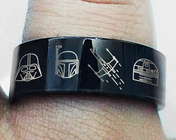 Engraved Star Wars Darth Vader R2D2 Boba Fett Black Tungsten Ring Flat and Polished - 4mm to 12mm Available - Lifetime Size Exchanges