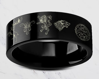 Custom Engraved Game of Thrones Sigil Ring Symbol Sigil Band Black Tungsten Ring Flat Polished - 4mm to 12mm - Lifetime Size Exchanges