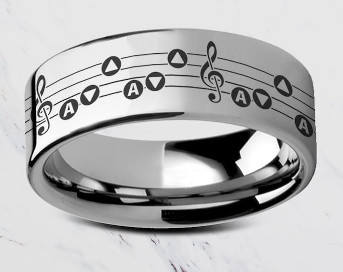 Engraved The Legend of Zelda Song of Storm Silver Tungsten Ring Flat Polished - 4mm to 12mm - Lifetime Size Exchanges