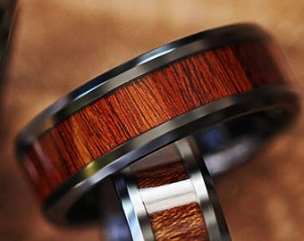 Custom Personalized Engraved Bevel Edged Rose Wood Inlay Black Ceramic Ring - 4mm to 12mm Available - Lifetime Size Exchanges