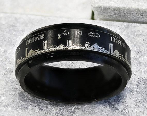 Laser Engraved Fidget Spinner Black Tungsten Ring Super Mario Bros Level Pixel Mushroom & Polished Edges - 8mm - Lifetime Size Exchanges
