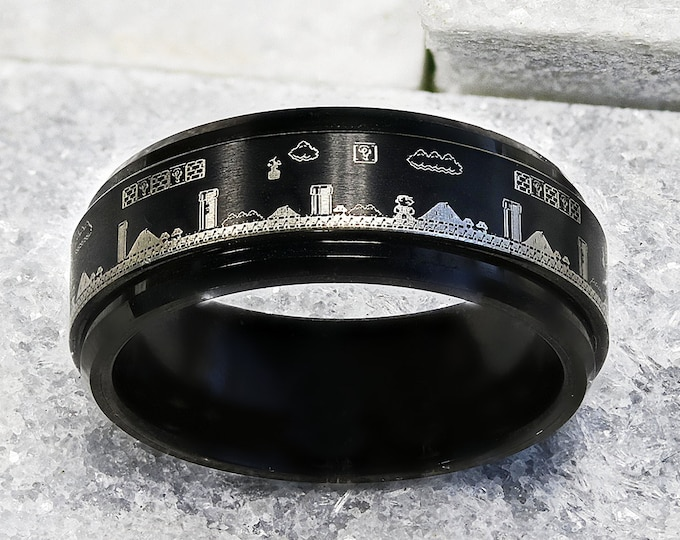 Featured listing image: Laser Engraved Fidget Spinner Black Tungsten Ring Super Mario Bros Level Pixel Mushroom & Polished Edges - 8mm - Lifetime Size Exchanges