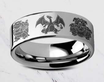 Engraved Starter Pokemon Blastoise, Charizard Venasaur Tungsten Ring Flat and Polished - 4mm to 12mm - Lifetime Size Exchanges
