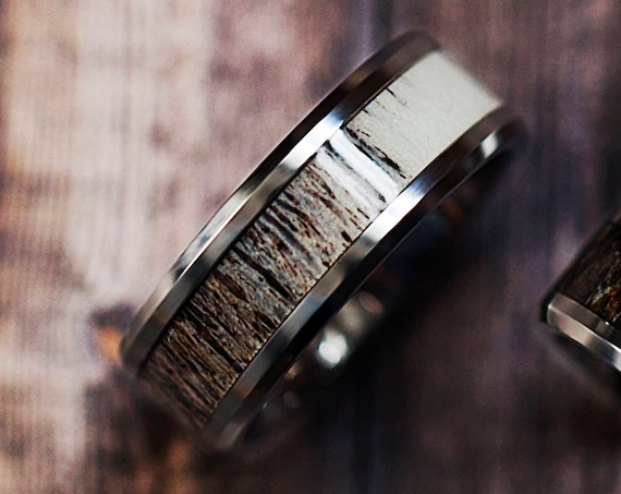 Deer Antler Inlay Tungsten Carbide Ring Medium Polished Beveled Edge - 8mm Available - Lifetime Size Exchanges