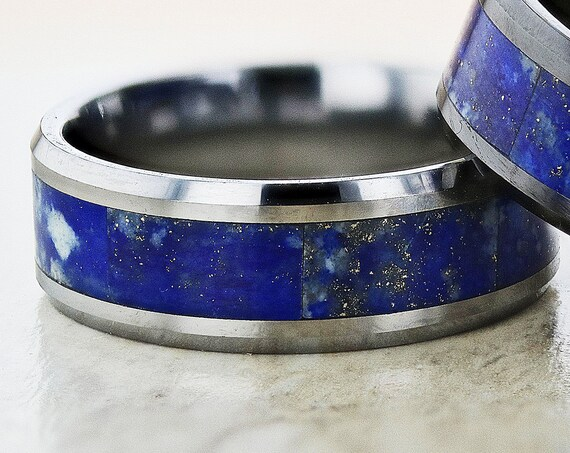 Personalized Engraved Bevel Edged Blue Lapis Lazuli Ring Stone Inlay Tungsten - 8mm Available - Lifetime Size Exchanges