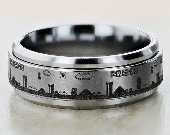 Laser Engraved Fidget Spinner Ring Super Mario Bros Level Pixel Mushroom Satin & Polished Edges - 8mm Available - Lifetime Size Exchanges