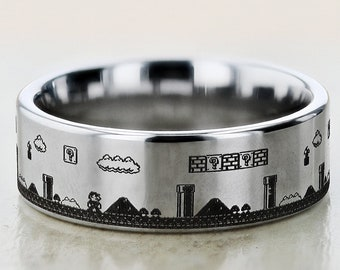 Engraved Super Mario Bros Level Question Block Mushroom Tungsten Ring Flat Polished Finish - 4mm to 12mm Available - Lifetime Size Exchanges