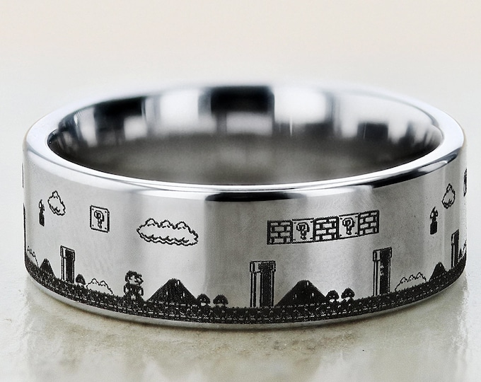 Featured listing image: Engraved Super Mario Bros Level Question Block Mushroom Tungsten Ring Flat Polished Finish - 4mm to 12mm Available - Lifetime Size Exchanges
