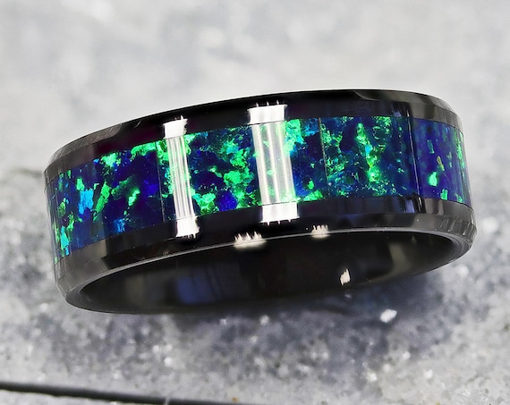 Personalized Engraved Bevel Edged Green and Blue Opal Inlay Black Ceramic Ring - 8mm Available - Lifetime Size Exchanges