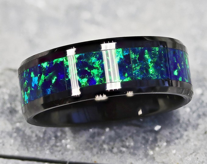 Personalized Engraved Bevel Edged Green and Blue Opal Inlay Black Ceramic Ring - 6mm and 8mm Available - Lifetime Size Exchanges