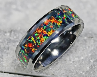 Personalized Engraved Bevel Edged Blue Red Green Autumn Color Opal Inlay Black Ceramic Ring - 8mm Available - Lifetime Size Exchanges